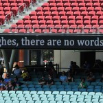 People start to gather at the Adelaide Oval
